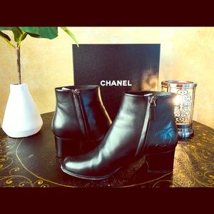 CHANEL Black short boots SZ 38